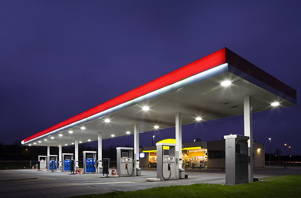 Empty gas station at night in the Netherlands
